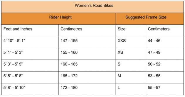 Women's road bike sizing chart