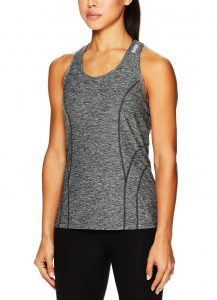 Lady wearing cycling tank top made by Reebok